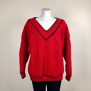 Sweaters - Vintage Handknit Cable V-Neck Sweater